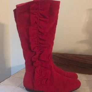 Red Boots with Ruffles